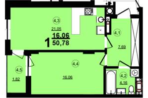 ЖК Globus Central Park: планування 1-кімнатної квартири 50.78 м²