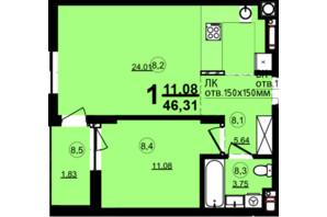 ЖК Globus Central Park: планування 1-кімнатної квартири 46.31 м²