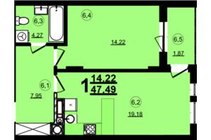 ЖК Globus Central Park: планування 1-кімнатної квартири 47.49 м²