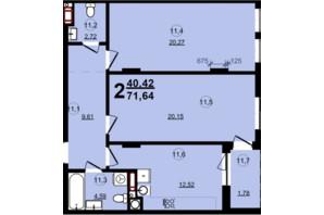 ЖК Globus Central Park: планування 2-кімнатної квартири 71.64 м²