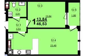 ЖК Globus Central Park: планування 1-кімнатної квартири 46.53 м²