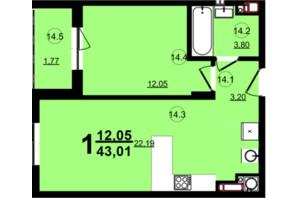 ЖК Globus Central Park: планування 1-кімнатної квартири 43.02 м²