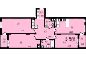 ЖК Globus Central Park: планування 3-кімнатної квартири 105.5 м²