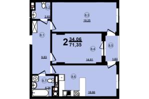 ЖК Globus Central Park: планування 2-кімнатної квартири 71.35 м²