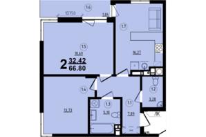 ЖК Globus Central Park: планування 2-кімнатної квартири 66.8 м²