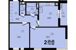 ЖК Globus Central Park: планування 2-кімнатної квартири 74.58 м²