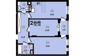 ЖК Globus Central Park: планировка 2-комнатной квартиры 70.19 м²