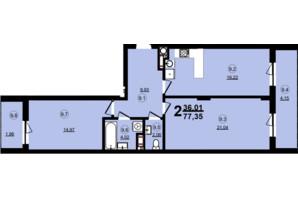 ЖК Globus Central Park: планировка 2-комнатной квартиры 77.35 м²