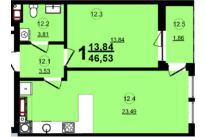 ЖК Globus Central Park: планировка 1-комнатной квартиры 46.53 м²