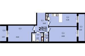ЖК Globus Central Park: планировка 2-комнатной квартиры 78.72 м²