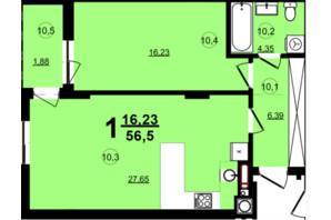 ЖК Globus Central Park: планировка 1-комнатной квартиры 56.5 м²