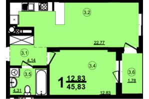 ЖК Globus Central Park: планировка 1-комнатной квартиры 45.83 м²