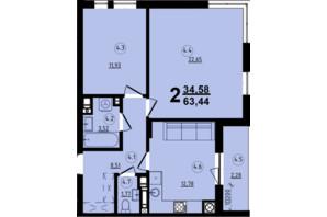 ЖК Globus Central Park: планировка 2-комнатной квартиры 63.44 м²