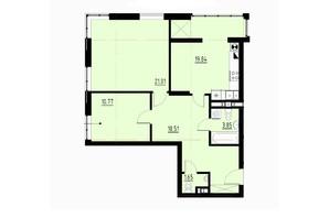ЖК Globus Comfort: планировка 2-комнатной квартиры 74 м²