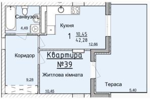 ЖК Globus Elite: планировка 1-комнатной квартиры 38.6 м²