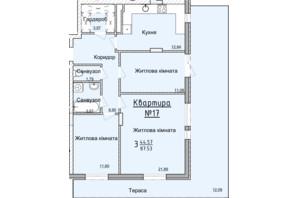 ЖК Globus Elite: планировка 3-комнатной квартиры 84 м²
