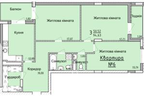 ЖК Globus Elite: планировка 3-комнатной квартиры 91.2 м²