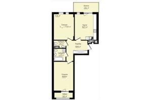 ЖК Globus Premium: планування 2-кімнатної квартири 77.01 м²