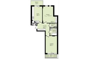 ЖК Globus Premium: планування 2-кімнатної квартири 74.44 м²