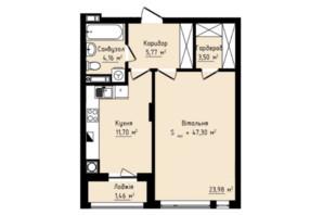 ЖК Globus Premium: планування 1-кімнатної квартири 47.3 м²