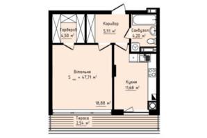 ЖК Globus Premium: планування 1-кімнатної квартири 47.71 м²