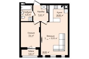 ЖК Globus Premium: планування 1-кімнатної квартири 51.15 м²