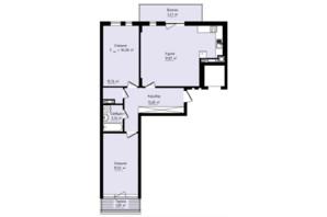 ЖК Globus Premium: планування 2-кімнатної квартири 84.06 м²