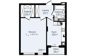 ЖК Globus Premium: планування 1-кімнатної квартири 51.77 м²