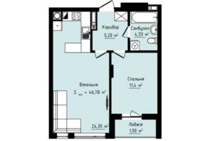 ЖК Globus Premium: планировка 1-комнатной квартиры 46.78 м²