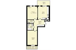 ЖК Globus Premium: планировка 3-комнатной квартиры 84.71 м²
