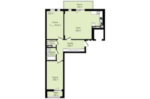 ЖК Globus Premium: планировка 2-комнатной квартиры 84.55 м²