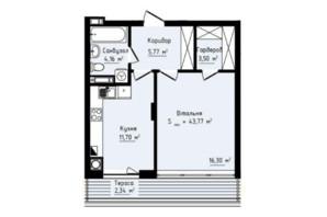 ЖК Globus Premium: планировка 1-комнатной квартиры 43.77 м²