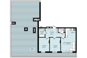 ЖК Globus Premium: планировка 3-комнатной квартиры 83.53 м²