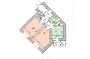 ЖК Голосеевская Долина: планировка 2-комнатной квартиры 63.77 м²