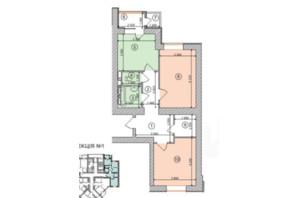 ЖК Голосеевская Долина: планировка 2-комнатной квартиры 71.28 м²