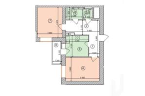 ЖК Голосеевская Долина: планировка 2-комнатной квартиры 64.97 м²