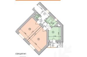ЖК Голосеевская Долина: планировка 2-комнатной квартиры 66.81 м²