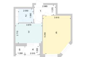 ЖК Голосеевская Долина: планировка 1-комнатной квартиры 44.34 м²