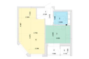 ЖК Голосеевская Долина: планировка 1-комнатной квартиры 42.12 м²