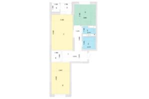 ЖК Голосеевская Долина: планировка 2-комнатной квартиры 63.35 м²