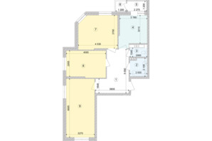 ЖК Голосеевская Долина: планировка 3-комнатной квартиры 85.44 м²