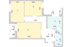 ЖК Голосіївська Долина: планування 3-кімнатної квартири 85.44 м²