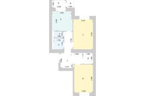 ЖК Голосіївська Долина: планування 2-кімнатної квартири 72.49 м²