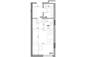 ЖК Голоські кручі: планировка 1-комнатной квартиры 33.32 м²
