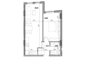 ЖК Голоські кручі: планировка 1-комнатной квартиры 48.36 м²