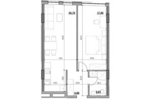 ЖК Голоські кручі: планировка 1-комнатной квартиры 51.25 м²