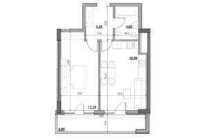 ЖК Голоські кручі: планировка 1-комнатной квартиры 48.82 м²