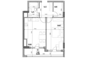 ЖК Голоські кручі: планировка 1-комнатной квартиры 53.28 м²