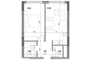 ЖК Голоські кручі: планировка 1-комнатной квартиры 43.05 м²
