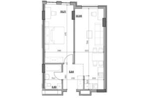 ЖК Голоські кручі: планировка 1-комнатной квартиры 51.41 м²
